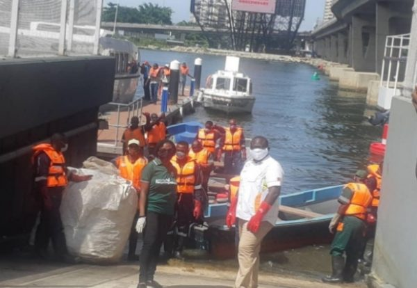FBRA Members with Executives from LAWMA, LASWA and the Lagos State Ministry of Environment during the official launch of the waterways project on 11th November 2019